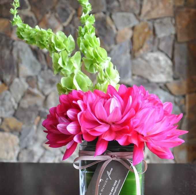 Bells of Ireland and Pink Dahlias