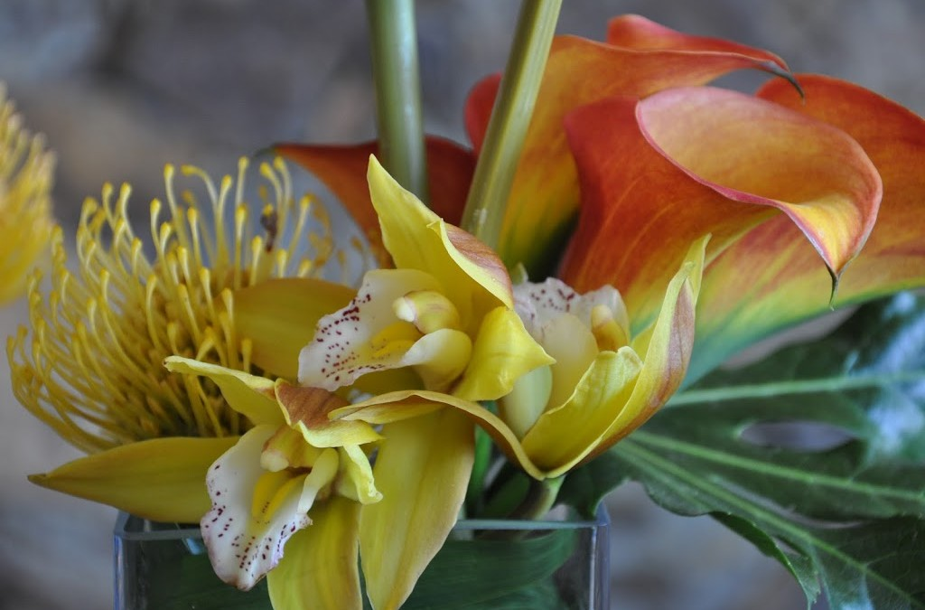 Calla Lillies and orchids