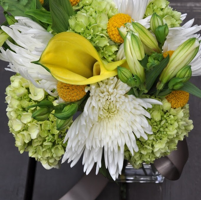 Summer Bouquet – White mums and green hydrangea