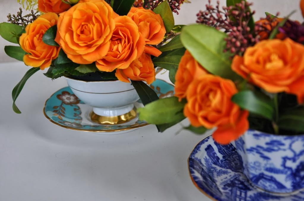 Flowers in Vintage Tea Cups